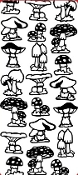 Mushrooms Etching Resist Sticker