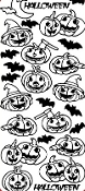 Halloween Pumpkins Etching Resist Sticker